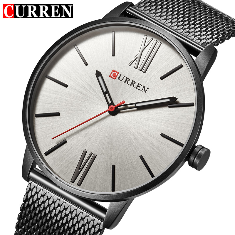 CURREN Luxury Brand Quartz Watch Men's Black Casual Business Stainless Steel Mesh band Quartz-Watch Fashion Thin Clock male curren brand luxury stainless steel watch men business casual