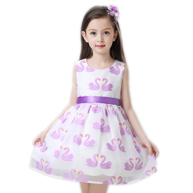 Summer Dress for Kids Girl Embroidery Swan Pattern Girls Clothes Party Wedding Prom Dresses Children Clothing Baby Girls Gowns new flower girls dress summer kids girl clothing wedding party prom floral dresses sleeveless clothes children princess dress