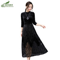 Summer Gold Velvet Dress Mid Length Large Size Lace Pleated Dress Women Spring Long Sleeve Waist