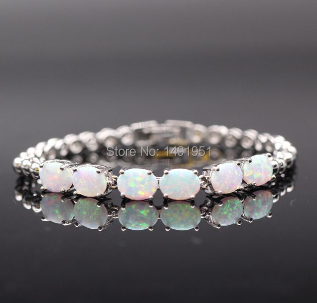 Fashion White Gold Color Fire Opal Zircon Bracelet Bangle For Women Lady Birthday Gift 5colors
