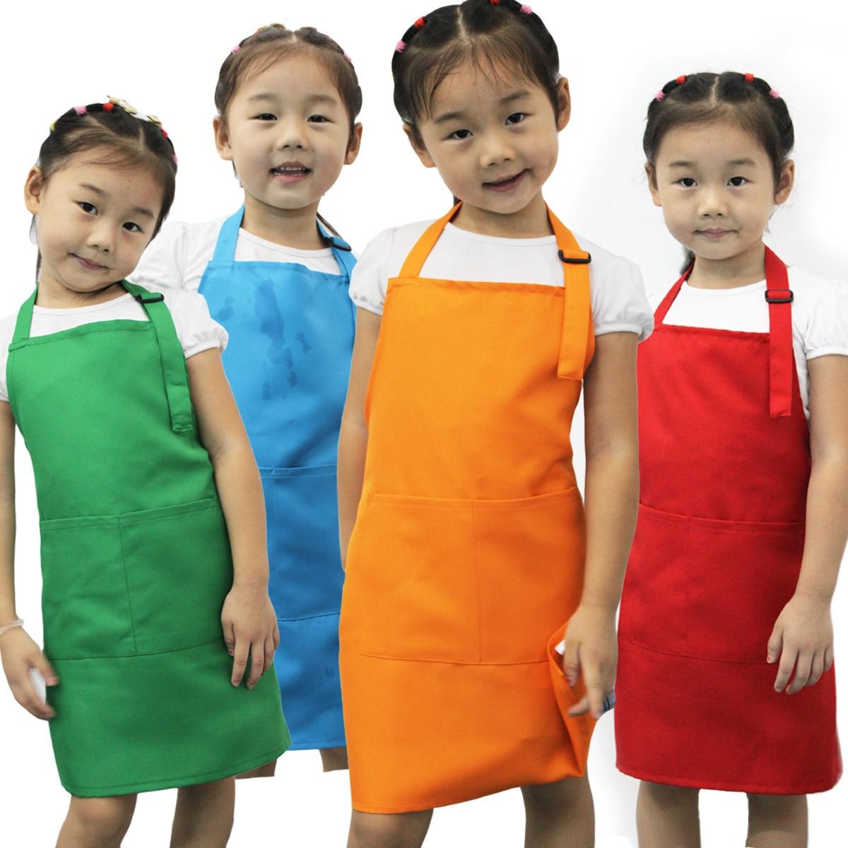 Plain white apron nz - Children Kids Plain Apron Kitchen Cooking Baking Painting Cooking Craft Art Bib China Mainland