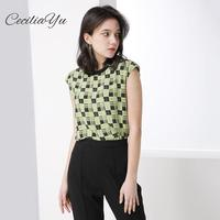 2019 Summer New Fashion 100% Silk Loose Women's Shirt Heavy Printed Silk Shirt White Short sleeved Women Blouses Ceciliayu