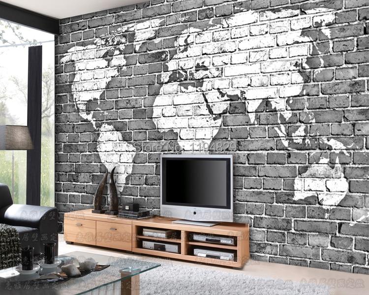 3D Old Gray Brick Wall World Map Large Mural Wallpaper TV Sofa