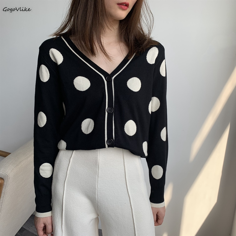 Polka Dot knitted cardigan women Single breasted female sweater cardigan 2019 Autumn winter oversized cardigan jumper LT990S50(China)