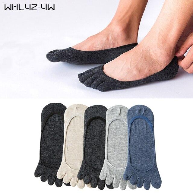 Whlyz YW 5 пар/лот, летние мужские носки с пятью пальцами, хлопковые нескользящие Дышащие носки без показа, однотонные носки, модные носки с пальцами