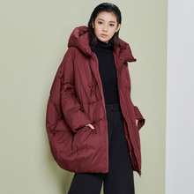 LYNETTE'S CHINOISERIE Winter Original Design Women Ultra Loose Oversize Cocoon Hooded 90% White Duck Down Jacket Coat Outerwear