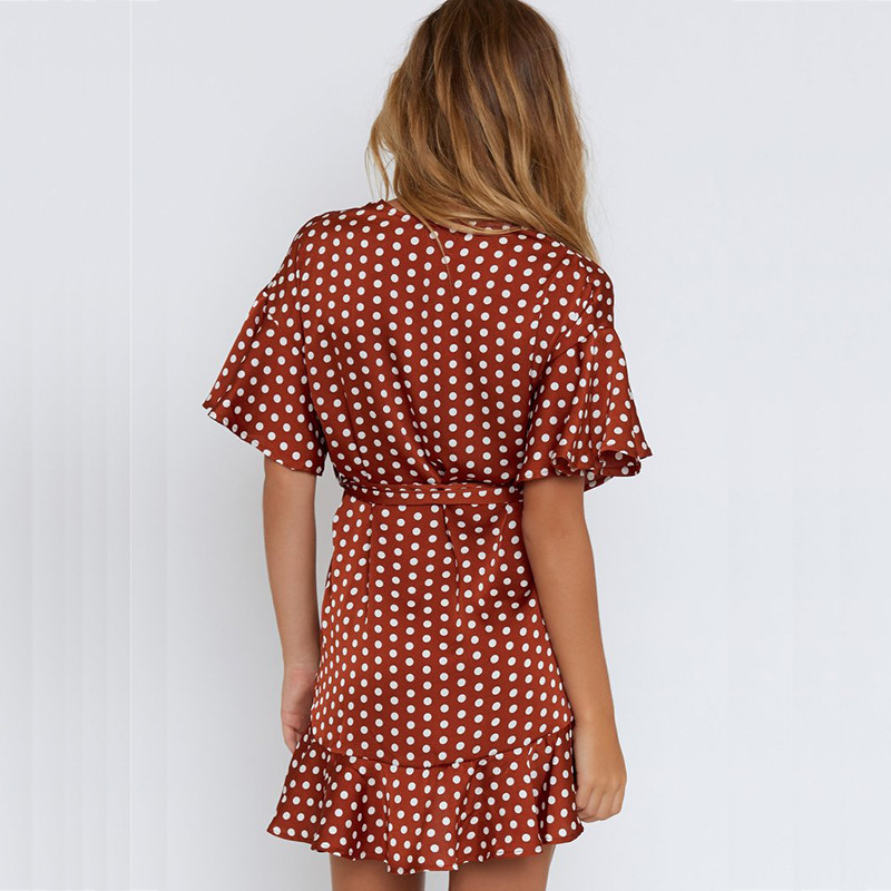 yinlinh Red Polka Dot Summer Dress Short Sleeve V Neck Sexy Mini Dress Women Sash Slim Waist Irregular Ruffles pea Vestidos  304