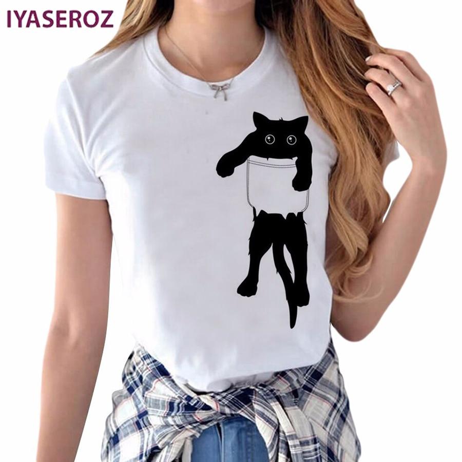 IYASEROZ 2017 Summer Naughty Black Cat 3D Lovely T Shirt Women Blusa Pocket Printing Originality O-Neck Short Sleeve T-shirt Top