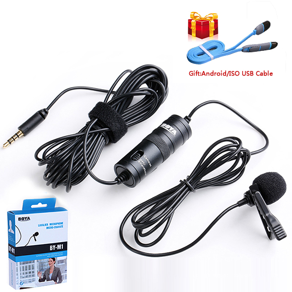 BOYA BY-M1 Professional Lavalier Cell phone Microfone 6M Lavalier Audio Video Recorder Interview for DSLR Camcorder free Ship