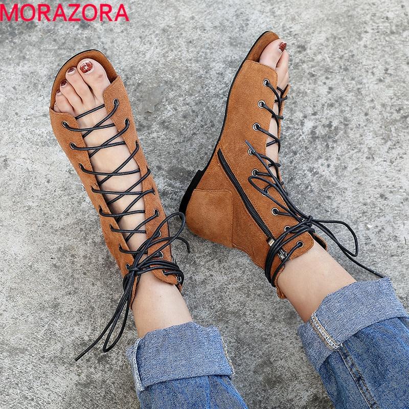Ayakk.'ten Ayak Bileği Çizmeler'de MORAZORA 2019 sıcak satış yarım çizmeler kadın inek süet yaz çizmeler çapraz bağlı düz ayakkabı kadın gladyatör sandalet kadın ayakkabı'da  Grup 1