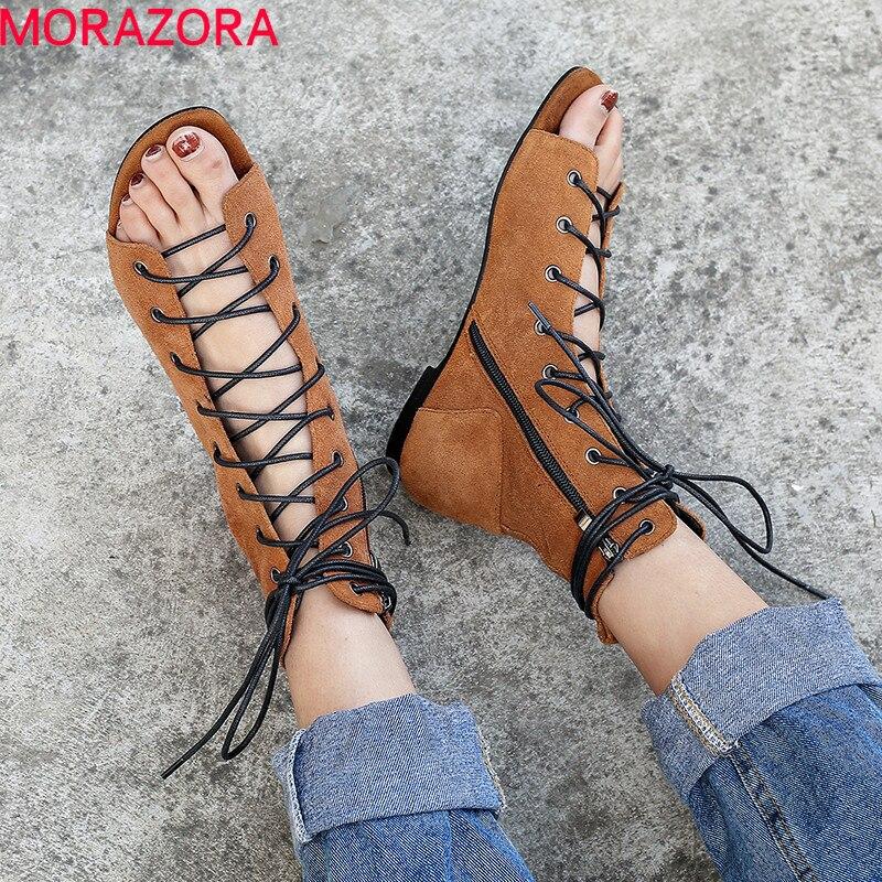 MORAZORA 2019 حار بيع حذاء من الجلد النساء البقر المدبوغ الصيف الأحذية عبر ربط حذاء مسطح الإناث صنادل طراز جلاديتور امرأة الأحذية-في أحذية الكاحل من أحذية على  مجموعة 1