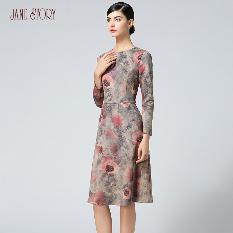 2017 Jane Story women winter autumn dress o neck long sleeve floral print vintage vestido elegant fashion office dress evening iadoaixnal knitted patchwork floral print belt slim full sleeve women dress summer o neck asymmetrical vintage female long dress