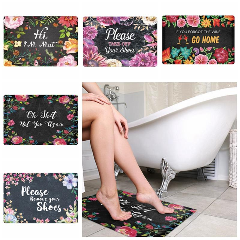 1pcs Modern Flower Letters Print Carpets Anti-Slip Floor Mat Outdoor Rugs Front Door Mats 40X60cm 45X75cm Home Decoration