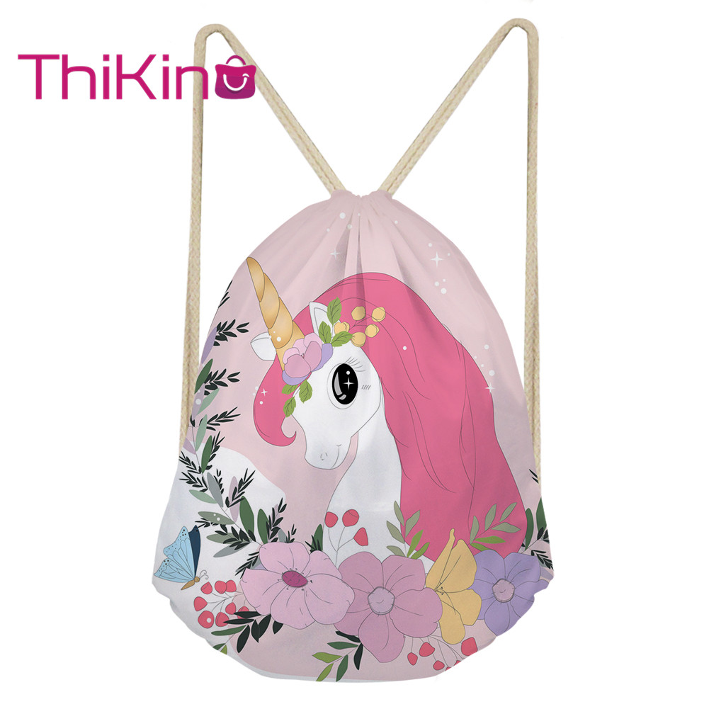 Thikin Unicorn Casual Sack Drawstring Bag for Girls Travel Backpack Toddler Softback Lady Beach Mochila DrawString Bag(China)
