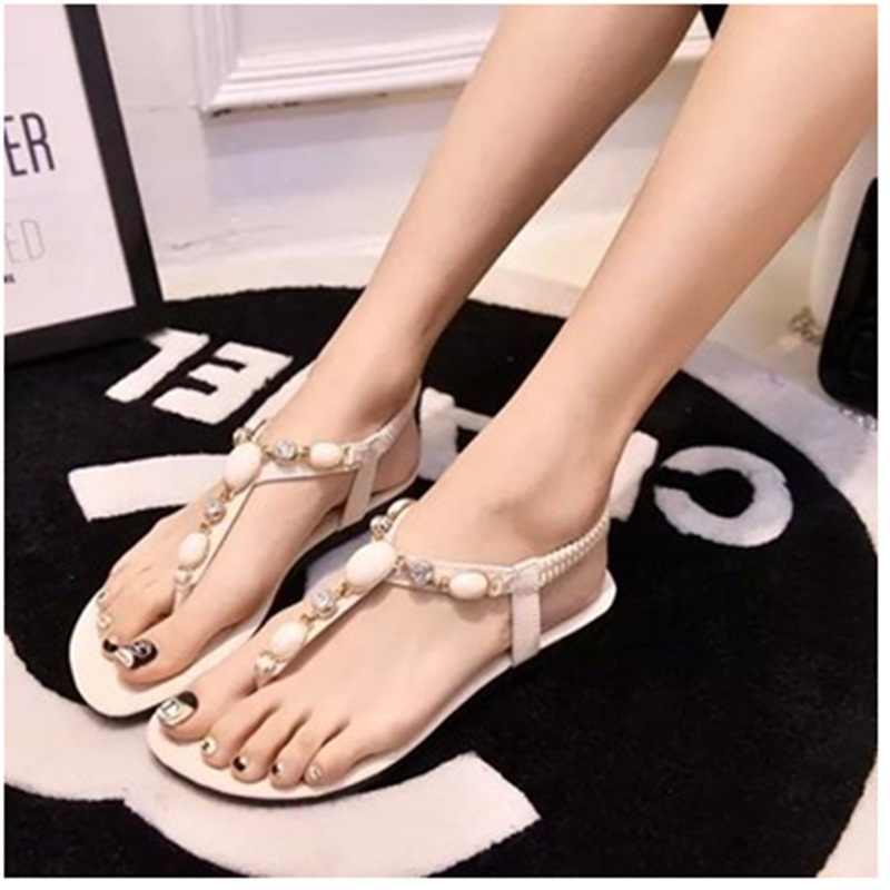 4c94d3db7632 Ladies Sweet Peal Cut-Out Elastic band Plus size 40 Flats Flip flops women  Thongs