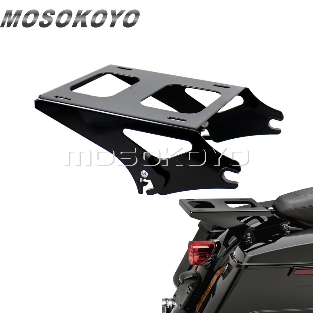 Motorcycle Two Up Detachable Tour Pak Pack Luggage Rack for Harley Touring Road King Street Glide FLHR FLHX 2013-Later Black