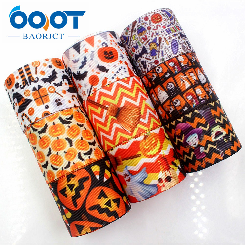 OOOT BAORJCT 178179 38mm 10yards Halloween Ribbons Thermal Transfer Printed Grosgrain Wedding Accessories DIY Handmade Material