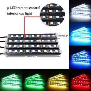 Image 2 - 4 stücke Auto RGB LED Streifen Licht LED Streifen Lichter Farben Auto Styling Dekorative Atmosphäre Lampen Auto Innen Licht Mit fernbedienung