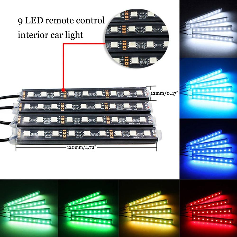 Image 2 - 4pcs Car RGB LED Strip Light LED Strip Lights Colors Car Styling Decorative Atmosphere Lamps Car Interior Light With Remote-in Decorative Lamp from Automobiles & Motorcycles