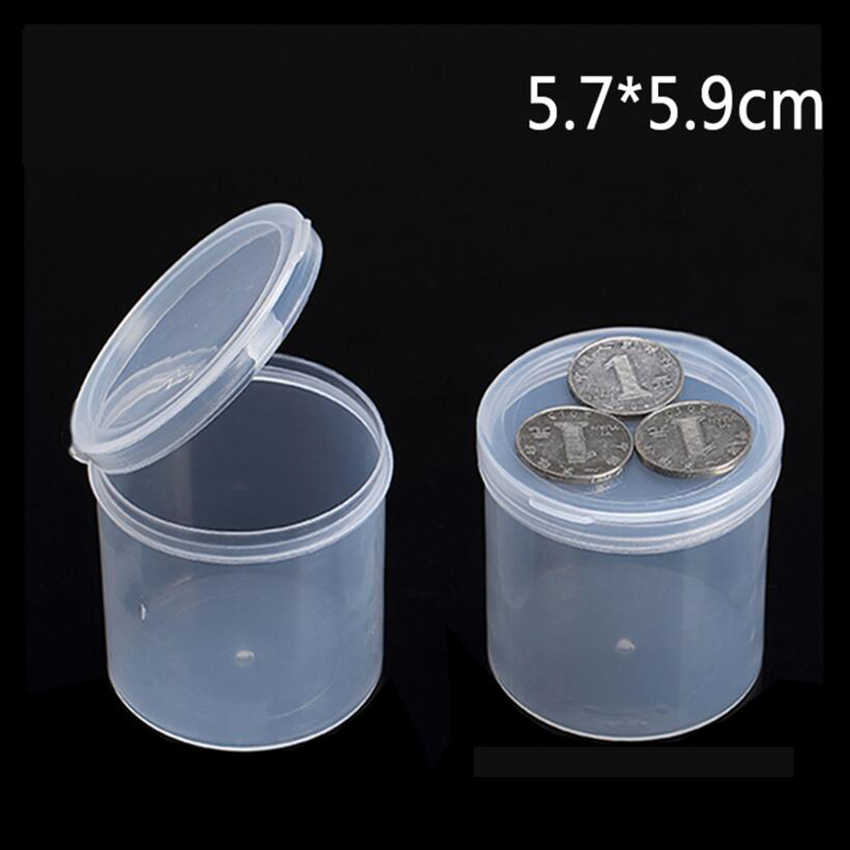 Plastic Box Tin Can Packaging Storage Jewellery Gift to Screw Transparent Round