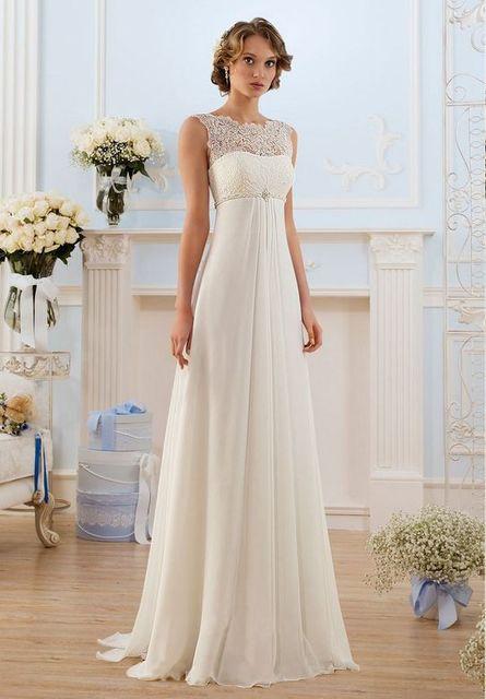 elegante escote redondo blanco playa de la gasa vestido para