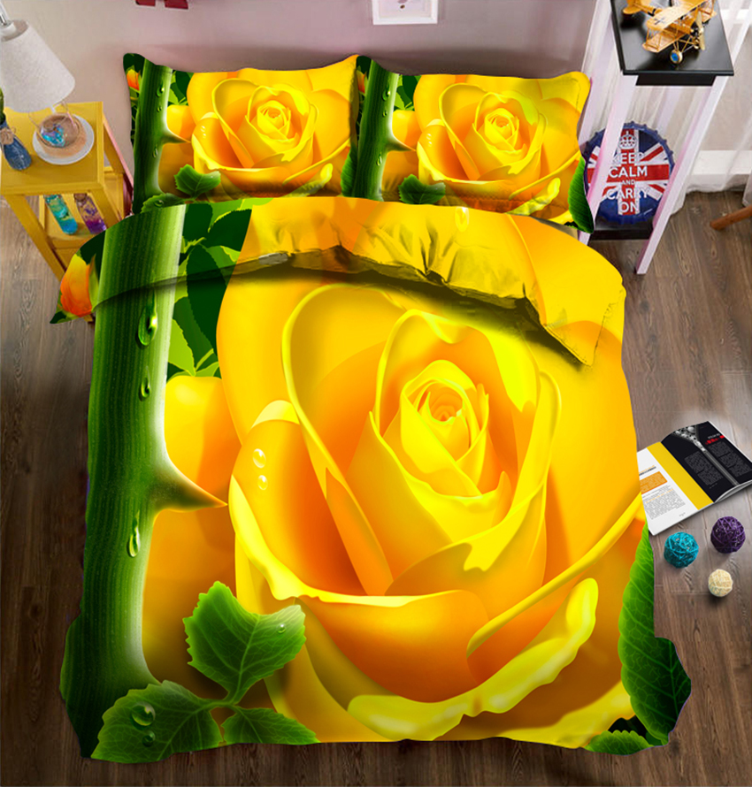 Yellow roses 3D Bedding Set Twin Full Queen bed sheet Duvet Cover Pillowcase bed cover Home Furnishing decorate California kingYellow roses 3D Bedding Set Twin Full Queen bed sheet Duvet Cover Pillowcase bed cover Home Furnishing decorate California king