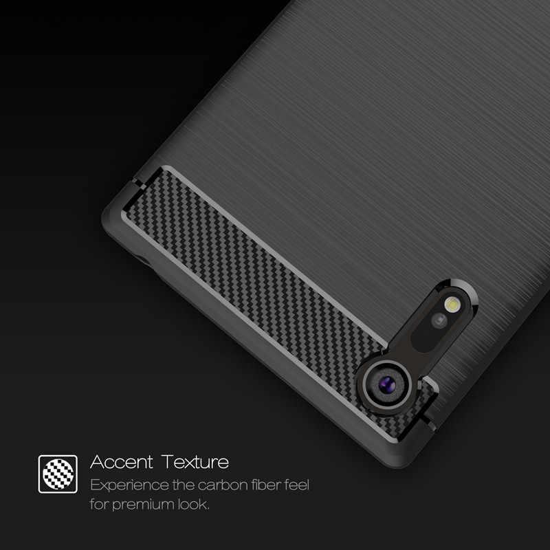 יוקרה סיבי פחמן TPU עבור Sony Xperia XZ XZ2 XZ3 XA1 Ultra מקרה רך שריון כיסוי עבור Sony XZ פרימיום XZs מקרה מגן פגז