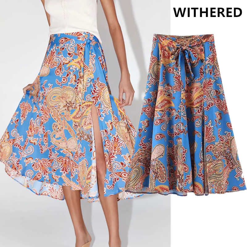Withered england style court print Fork opening vintage high waist midi skirt women faldas mujer moda 2019 long skirts womens