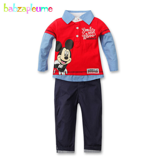 Autumn Kids Boys Clothes 2pcs/set Shirt+Pant Toddler Boy Tracksuit Cartoon  Mouse Design - Autumn Kids Boys Clothes 2pcs/set Shirt+Pant Toddler Boy Tracksuit