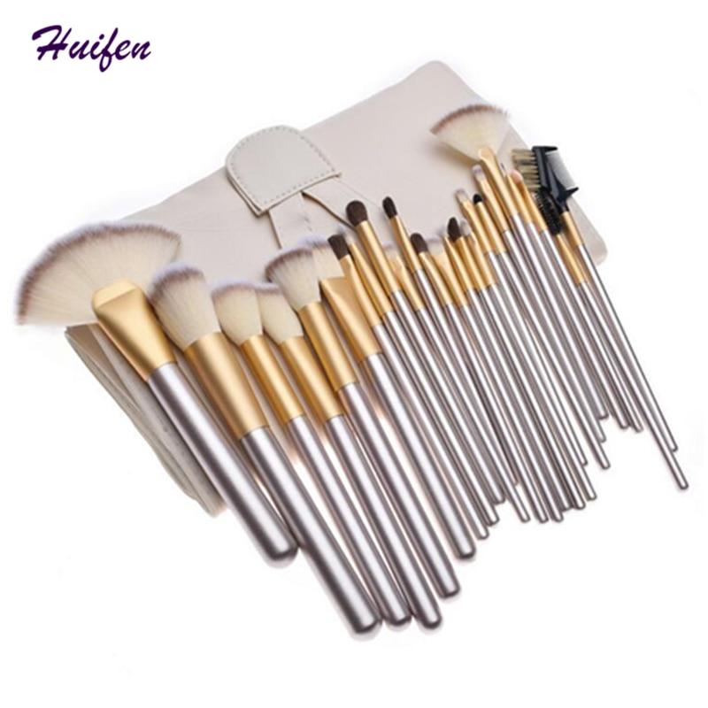 24pcs Makeup Brushes Set Cosmetic Powder Foundation Blush Brush Professional Make up Tools Kits With Bag 20sets/lot (YP0130) professional bullet style cosmetic make up foundation soft brush golden white