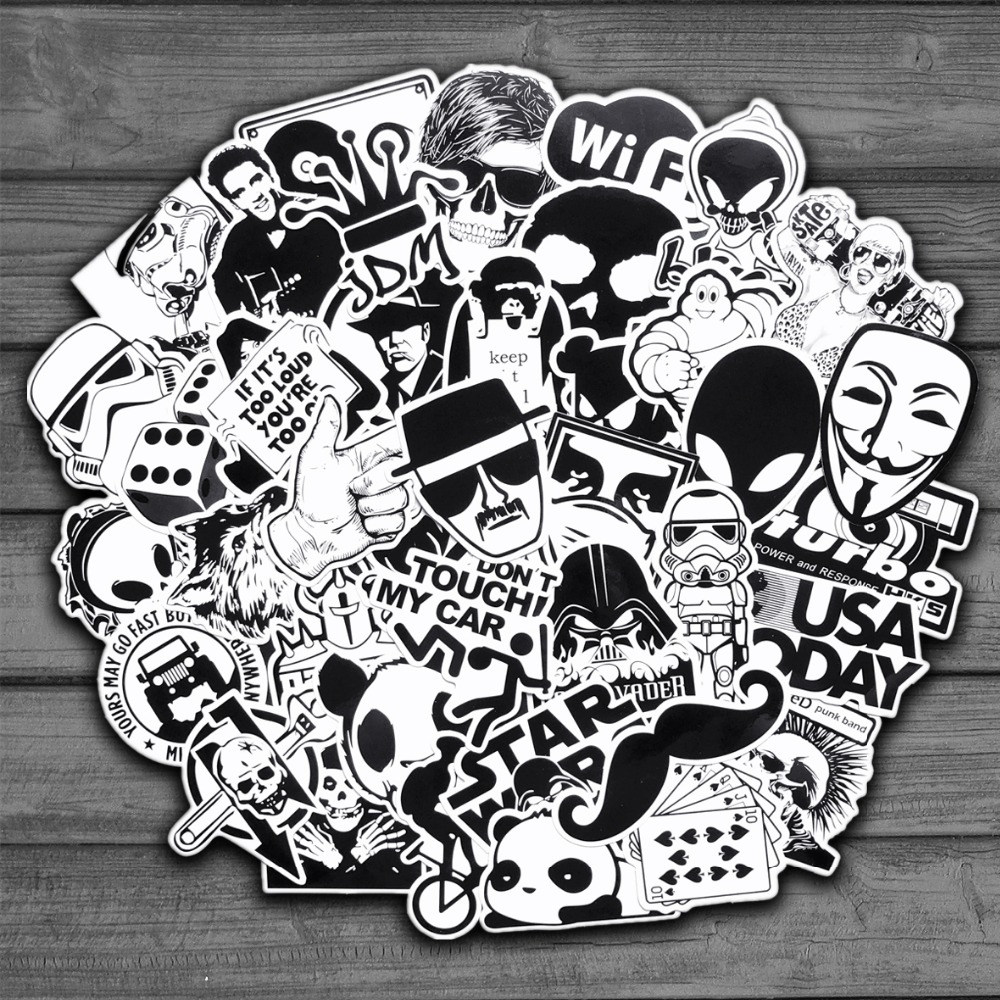 50pcs-random-black-and-white-sticker-graffiti-punk-jdm-cool-stickers-for-kids-sticker-on-laptop-skateboard-suitcase-bike-helmet