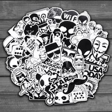 50pcs Random Black and White Sticker Graffiti Punk JDM Cool Stickers for Kids Sticker on Laptop Skateboard Suitcase Bike Helmet(China)