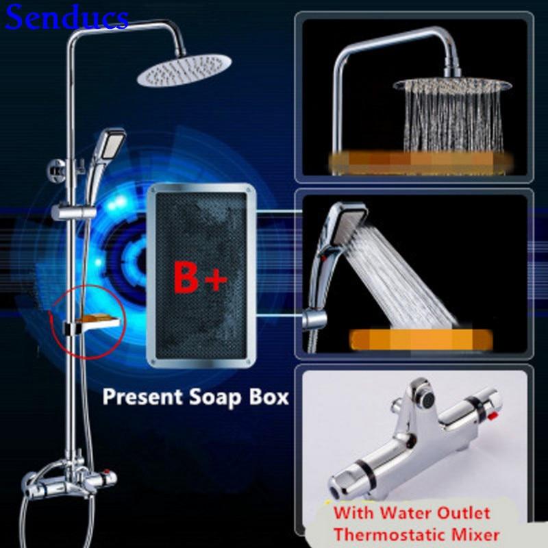 Senducs Chrome Thermostatic Shower Set with High Quality Polished Chrome Shower System Raining Top Shower Set