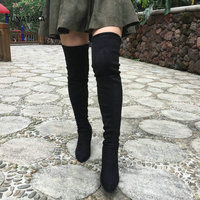 Black Gray Women Micro Suede Thigh High Boots Block Thick Heel Stretch Over The Knee Boots