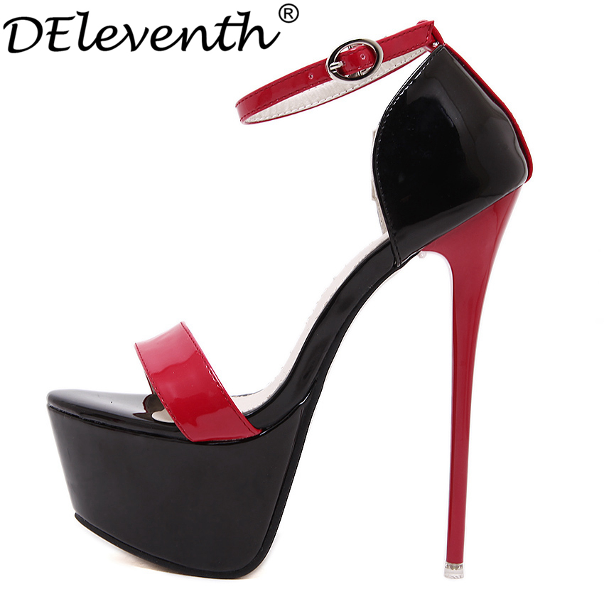DEleventh Sexy High Platform Women's Mixed Colors Shoes Ankle Buckle Strap Peep Toe High Heels Shoes Woman T-show Party Shoes spikes heels and blue silver muliti colors mixed rhinestone ultra high heels wedding evening shoes with strap ankle