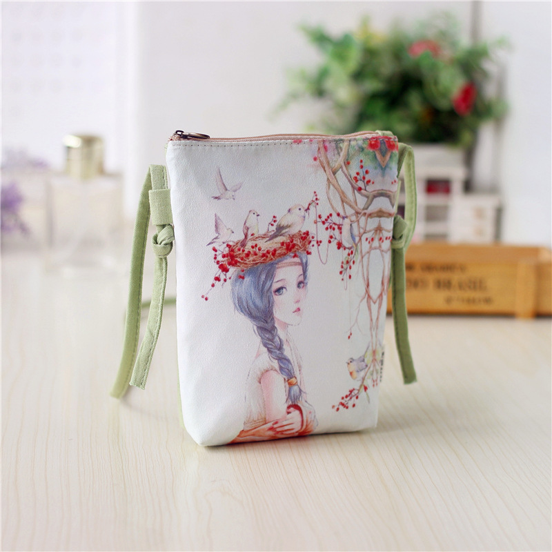 Canvas wallet women cartoon printing phone pouch coin purse bags for kids girls Mini Shoulder crossbody bag Clutch fashion coin purse wallets mini bag league creative personality canvas bags cartoon storage bags for cardholder in ear headphone