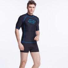 Новинка, Мужская одежда для плавания с коротким рукавом, Рашгард с высоким горлом, Солнцезащитная спортивная рубашка для серфинга, топ, мужской костюм для дайвинга 4XL