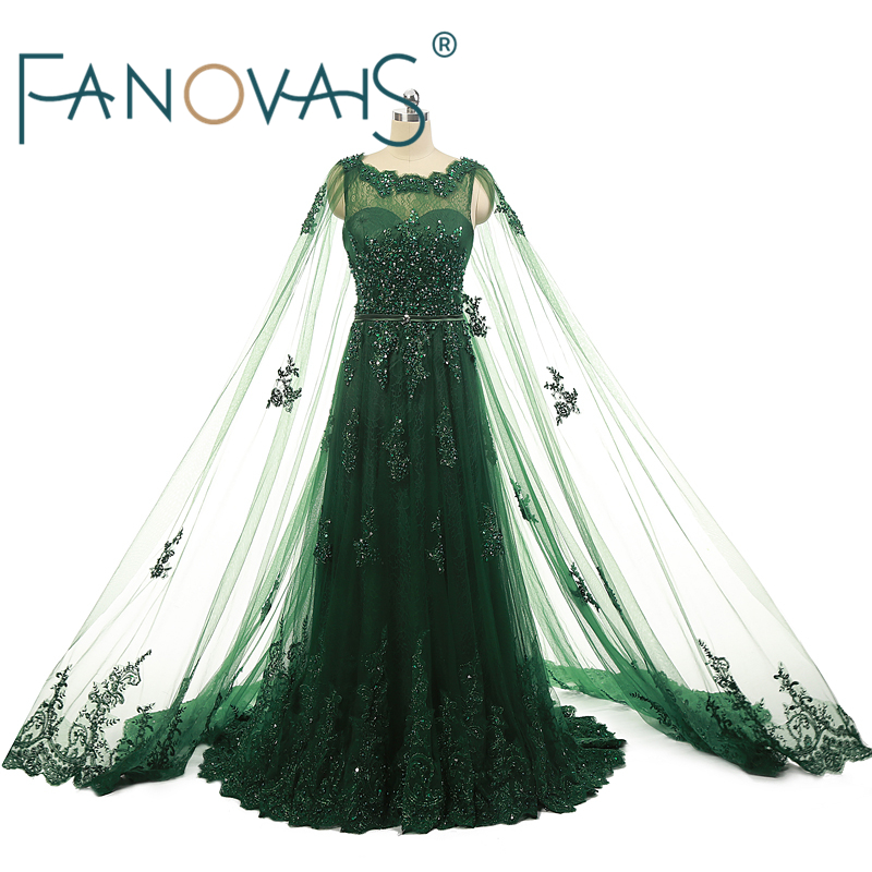 Real Photo Green A-line Lace   Evening     Dresses   2019 Pearls Sequins Beaded Applique Zipper Back   Evening     Dress   vestido de fiesta