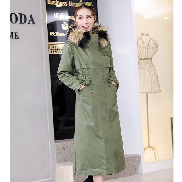 191fa65b5ea Nerazzurri Winter faux fur lined parka hooded thicken ArmyGreen black Detachable  Large raccoon fur collar plus size overcoat 6xl