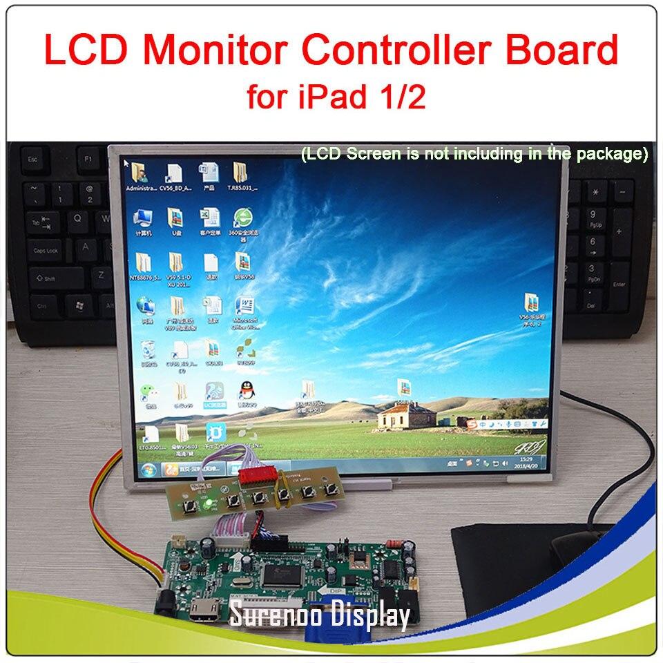 "9.7"" 1024*768 LCD Monitor Screen Module Controller Driver Board For IPad 1/2 Screen Work On Raspberry Pi"