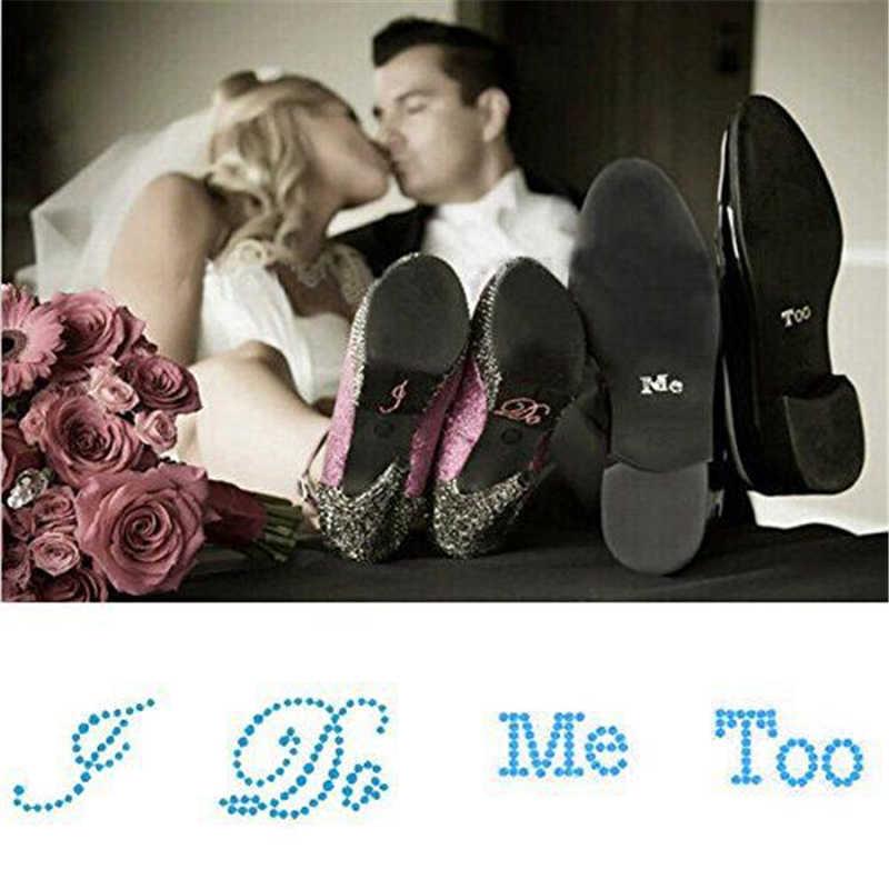 งานแต่งงานโปรดปรานและของขวัญ 1 ชุด (I Do / Me Too) เจ้าบ่าวเจ้าสาวรองเท้าสติกเกอร์สีขาวใสเจ้าสาวงานแต่งงานตกแต่ง,Q