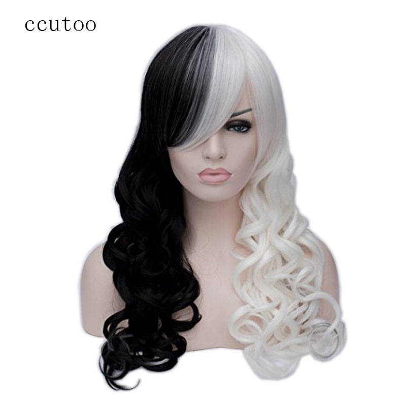 ccutoo 65 სმ Cruella Deville გვერდითი ზოლები ნახევრად თეთრი და შავი ფენით ბუნებრივი ტანის ტალღოვანი სინთეზური Cosplay Wig For Party + Wig Cap
