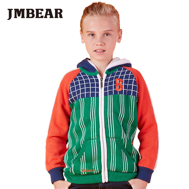 JMBEAR Boys Sweaters autumn/winter good quality boy's hooded sweater kid's outerwear for 6-14T