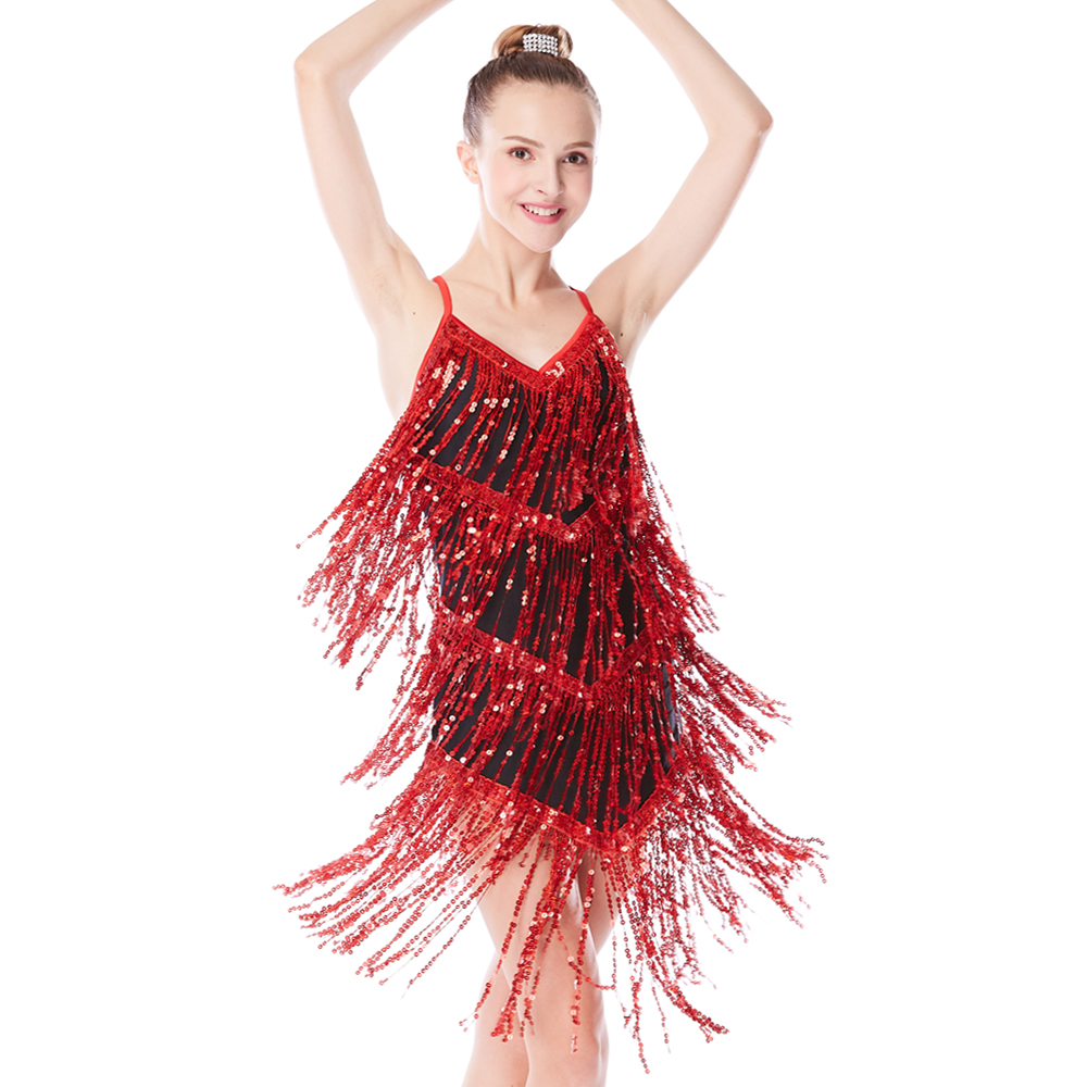 Sequin Fringe Latin Dance Dresses Samba Salsa պարուհի զգեստներ կանանց համար Flamenco զգեստի սահադաշտ