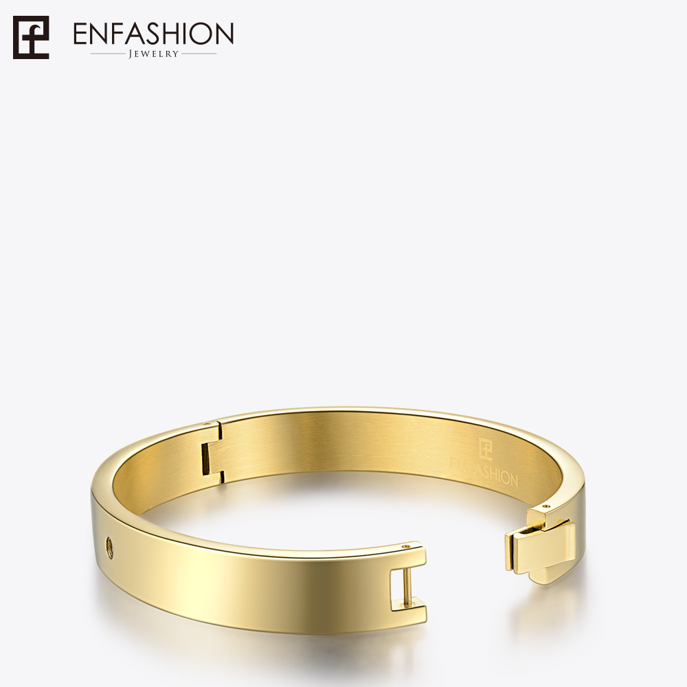 Enfashion Play Series Initial Letter Disc Screw Cuff Bracelet Bangle Gold color Bangles Bracelets For Women DIY Jewelry 70028005