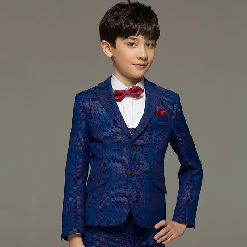 brand boy clothes children kids baby boy suits for wedding blue plaid toddler formal tuxedo 5pcsset boy prom suit boy dress