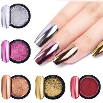 2pcs/set Nail Art Mirror Powder Pigment Nail Glitter Dip Powder Rose Gold Shining Chrome Metallic Powder