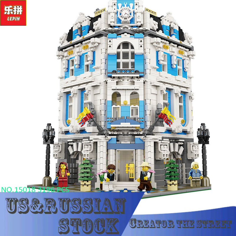 Lepin block15018 MOC Creator City Series The Sunshine Hotel Set Building Blocks Bricks 3196pcs Educational Toys decool 3114 city creator 3in1 vehicle transporter building block 264pcs diy educational toys for children compatible legoe