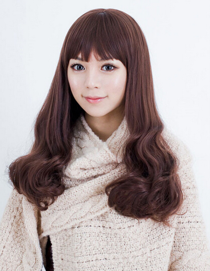 Female long wig fluffy wavy natural pear head shave temperament female long wig fluffy wavy natural pear head shave temperament female hair heat resistant ladys wigs solutioingenieria Images