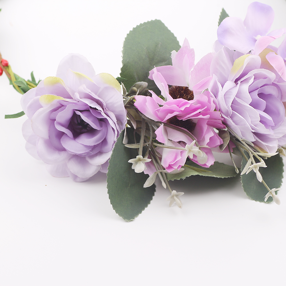 Big Purple Flower Floral Garlands Hairband Wreath Turban Headband